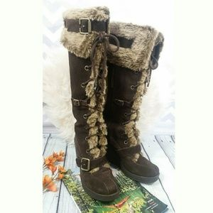 REPORT Faux Fur Knee high Winter Womens  Boots